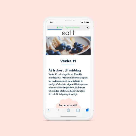 En mobilvy som visar innehåll från vecka 11 i Eatits Hälsoguide.