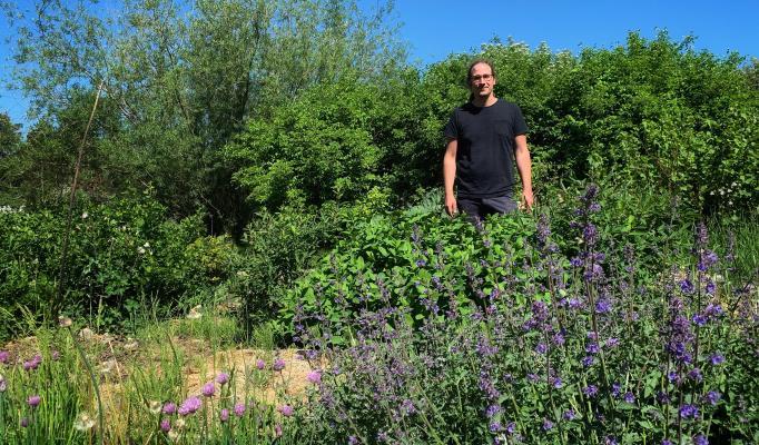 Joel i sin trädgård
